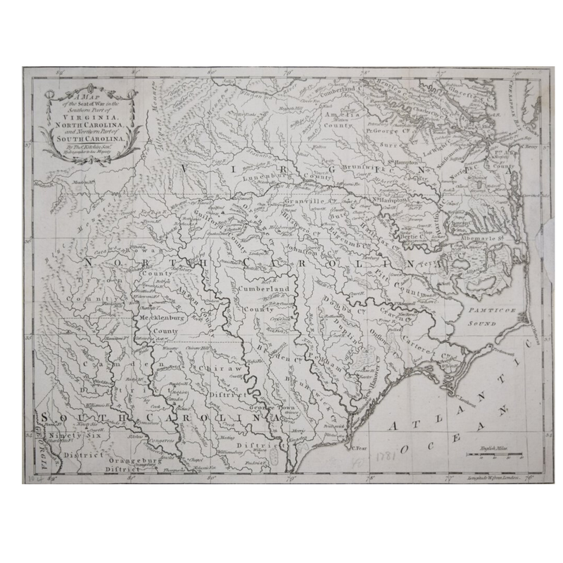 THOMAS KITCHIN (1714-1784), A MAP OF THE SEAT OF WAR IN THE SOUTHERN PART OF VIRGINIA, NORTH CAROLINA AND THE SOUTHERN PART OF NORTH CAROLINA