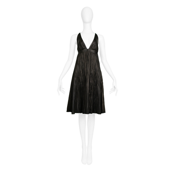 ALEXANDER MCQUEEN BLACK LEATHER FORTUNY CRINKLE DRESS 2006