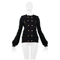 BALENCIAGA BRASS BUTTON MILITARY JACKET
