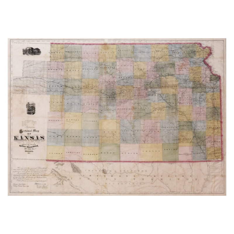 RUFUS BLANCHARD (1821-1904), SECTIONAL MAP OF KANSAS