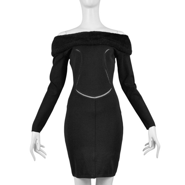 ALAIA BLACK COLD SHOULDER BODY-CON DRESS 1991
