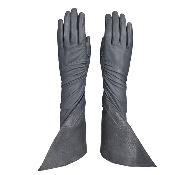 ALAIA FANCY GREY LEATHER GLOVES