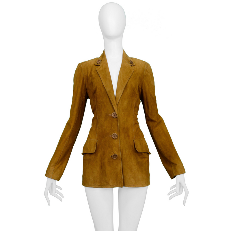 DIOR BROWN SUEDE BLAZER JACKET WITH BUTTONS