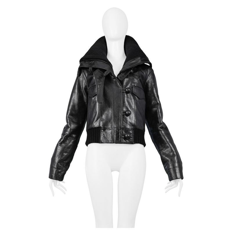 BALENCIAGA BLACK LEATHER MOTO JACKET 2002