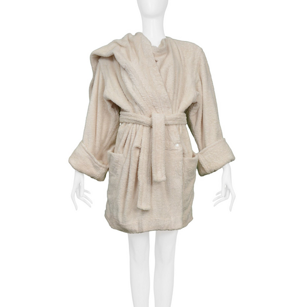 ALAIA OFF WHITE TERRY CLOTH ROBE COAT 1980S