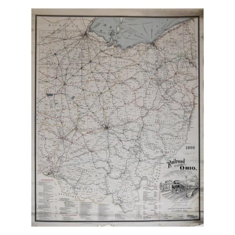 J.C. MORRIS, PREPARED UNDER THE DIRECTION OF, RAILROAD MAP OF OHIO PUBLISHED BY THE STATE