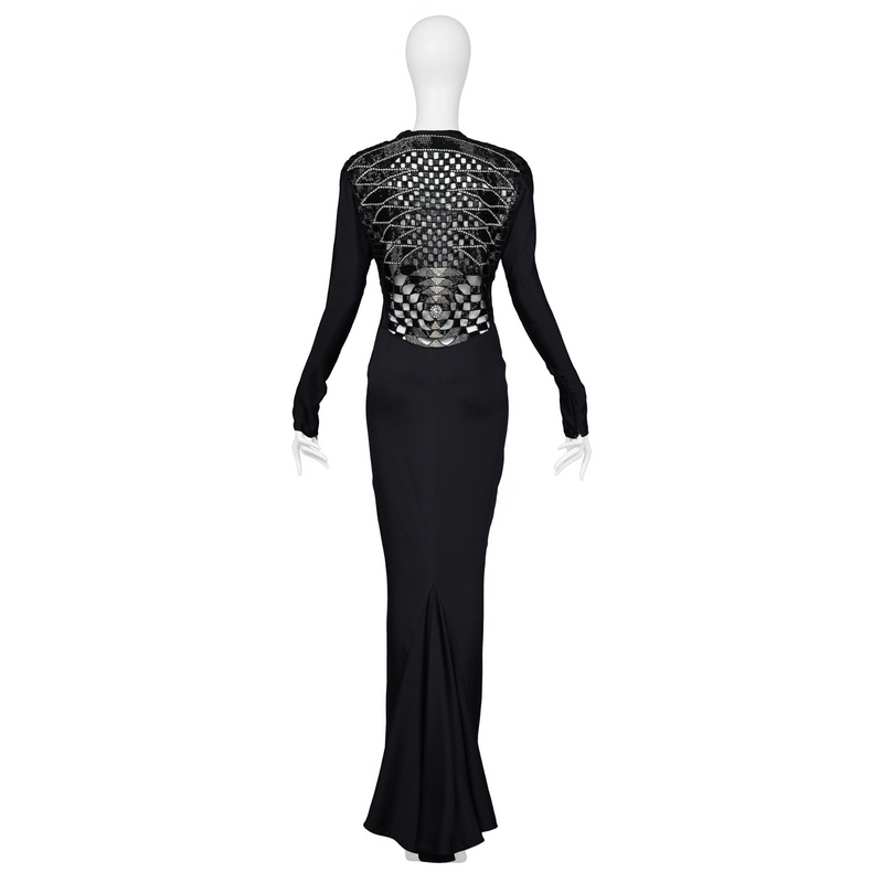 VERSACE BLACK DECO CUTOUT GOWN 1986-87