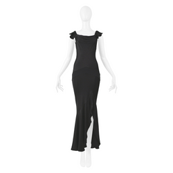 GALLIANO BLACK FLUTTER SLEEVE GOWN