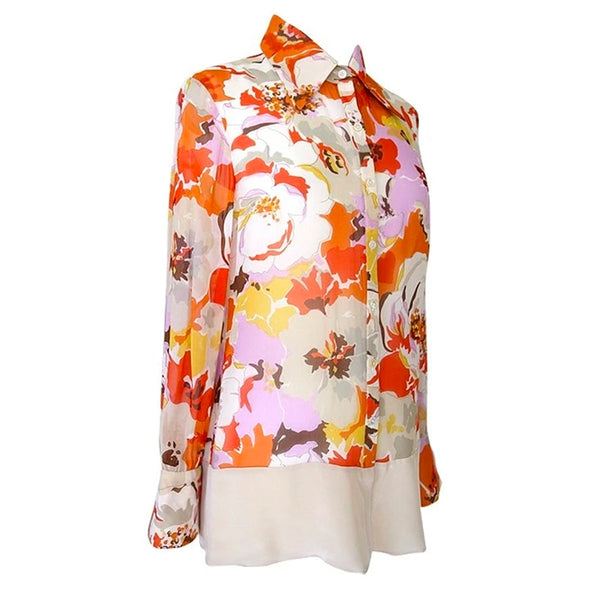 Valentino Floral Print Silk Top Blouse