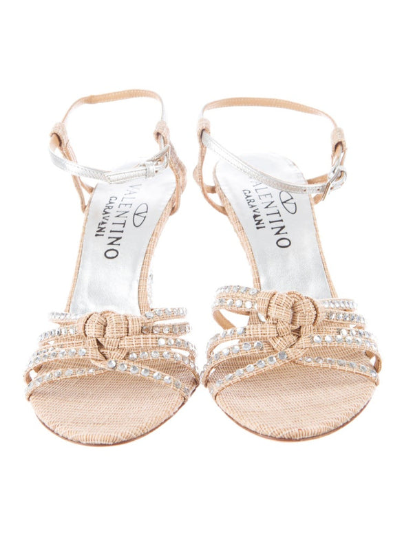 VALENTINO NUDE STRAW CRYSTAL EMBELLISHED WEDGE SANDALS - Size IT 36.5 / US 6.5