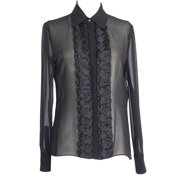 Valentino Top Black Blouse Beautiful Front Detail 8 nwt