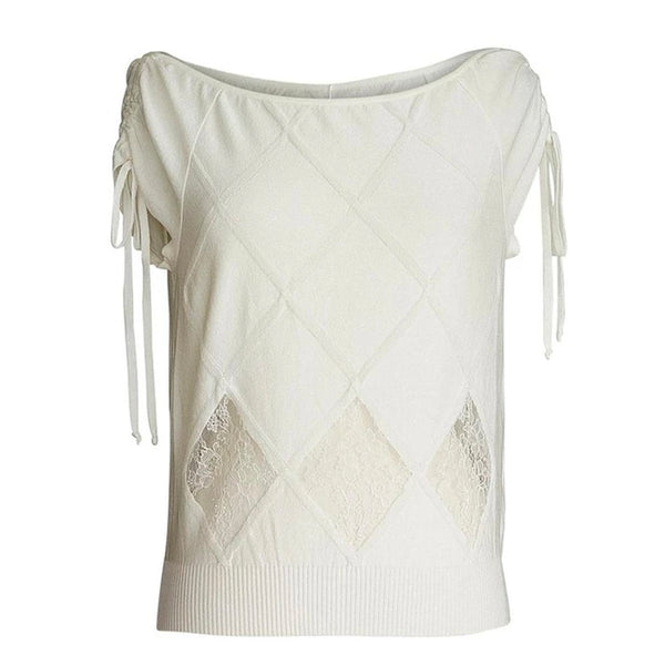 Valentino Top White Knit Lace Inset Shell XL NWT