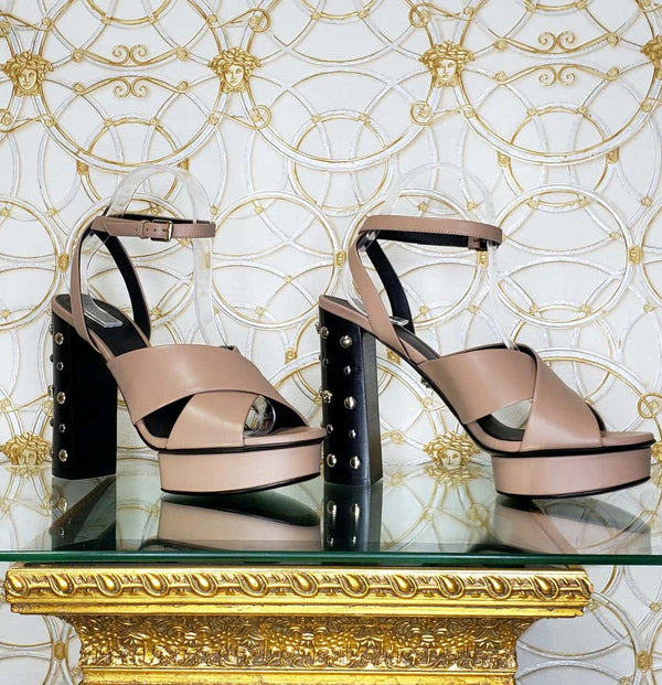 VERSACE BEIGE LEATHER SANDALS SHOES with GOLD MEDUSA STUDS