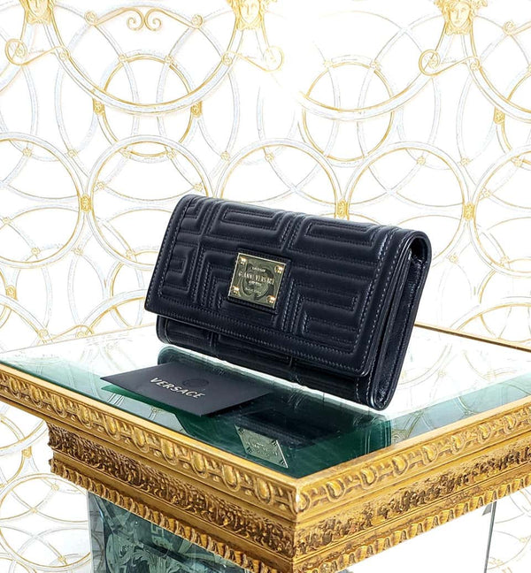 VERSACE BLACK GREEK KEY EMBROIDERED Wallet