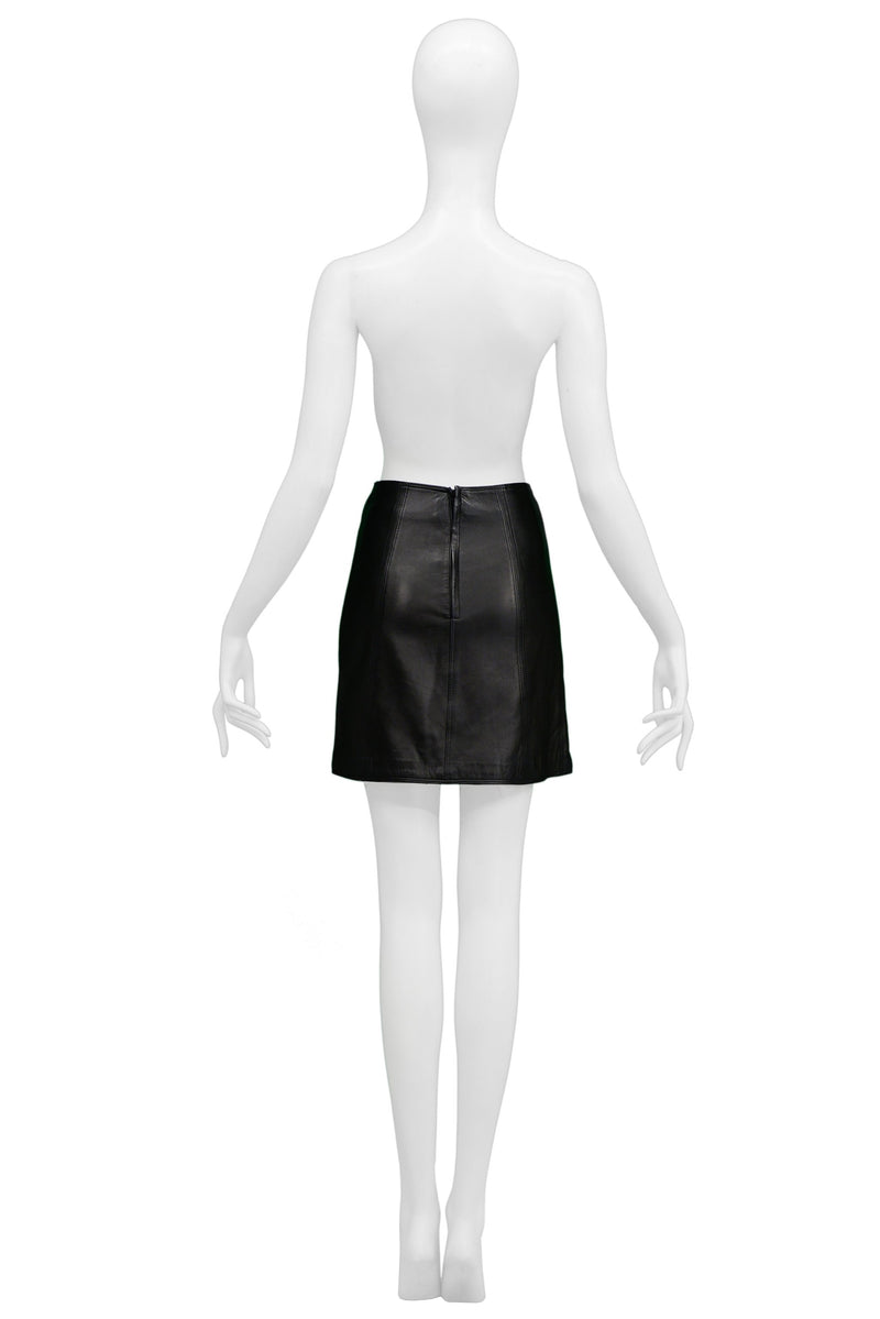 VERSACE BLACK LEATHER MINI SKIRT