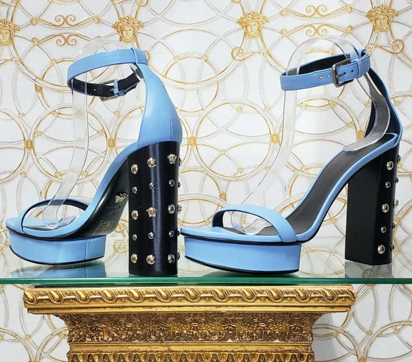 VERSACE BLUE LEATHER SANDALS w/GOLD MEDUSA STUDS