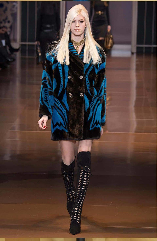 VERSACE RUNWAY MINK FUR COAT WITH CRYSTAL EMBELLISHED Buttons