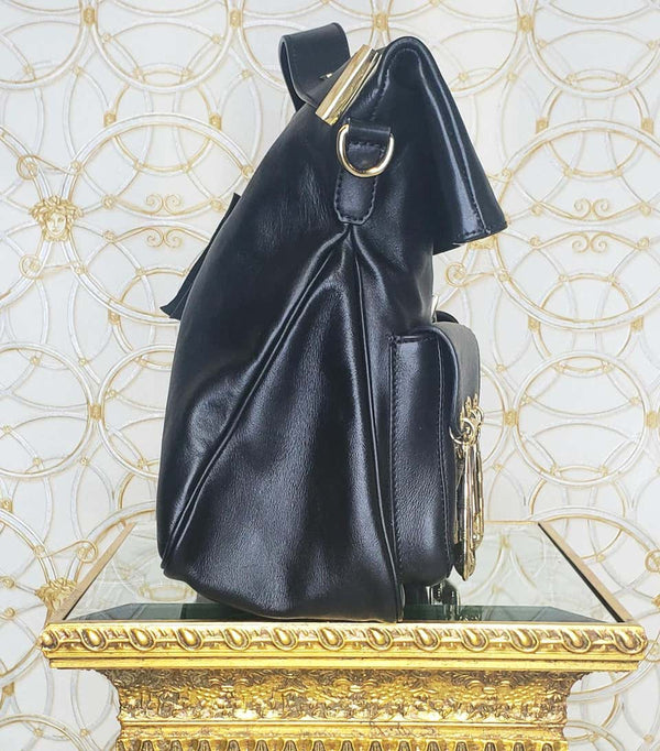 VERSACE VERSUS BLACK GOLD-PLATED PINS HANDBAG/SHOULDER Bag