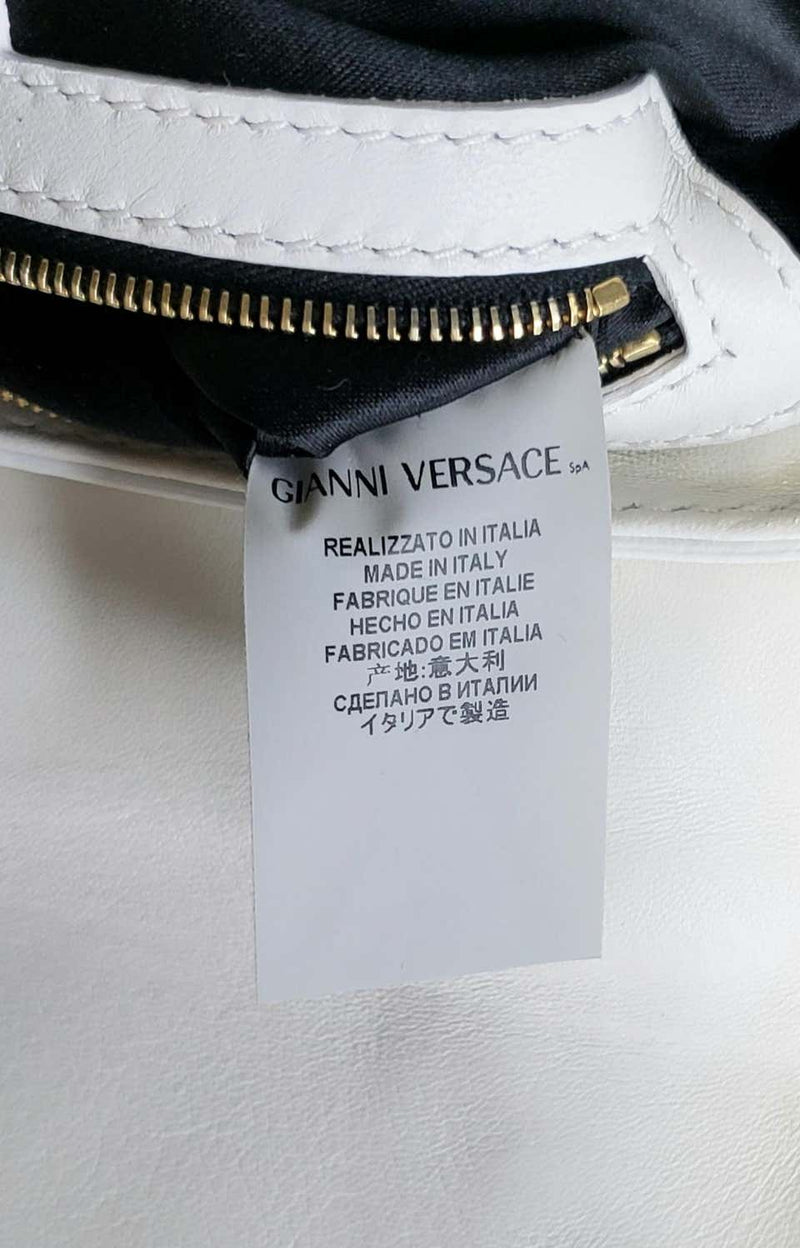 VERSACE WHITE and BLACK LEATHER GREEK MEDUSA MINI BAG