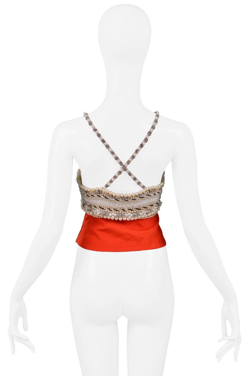 VERSACE COUTURE RED BEADED BUSTIER 1991