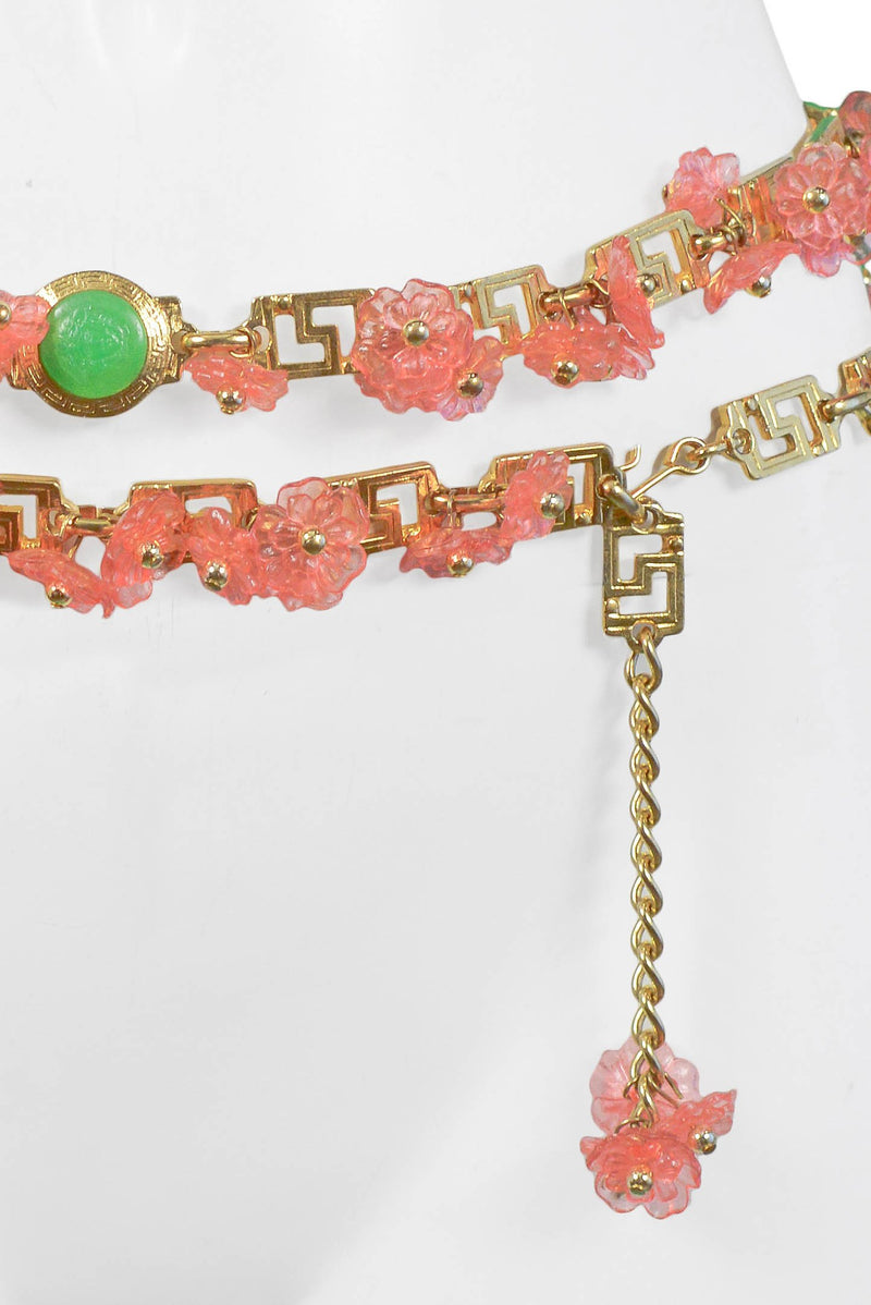 VERSACE ACRYLIC PINK FLORAL & GOLD GRECO BELT 1990S