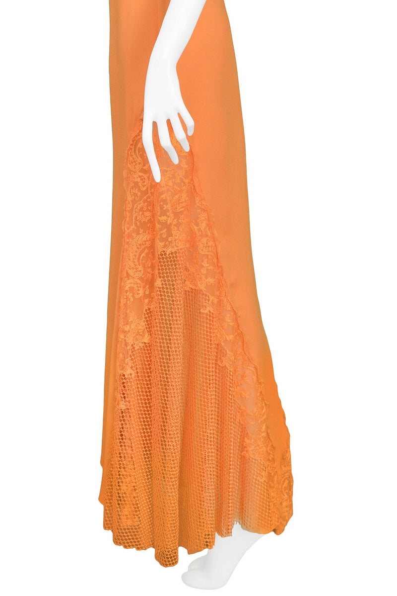 VERSACE APRICOT LACE RUNWAY GOWN 1997
