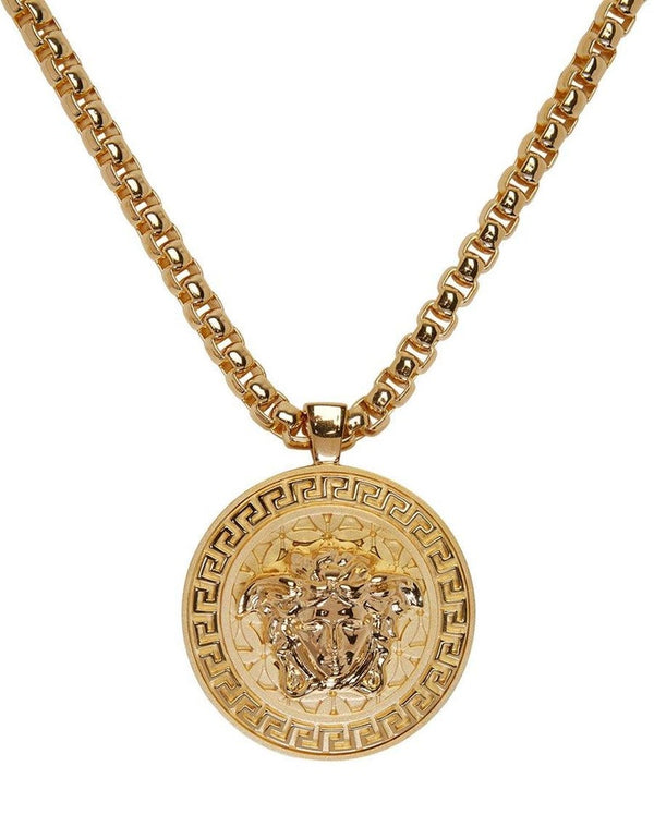 VERSACE 24k GOLD MEDUSA MEDALLION CHAIN NECKLACE New