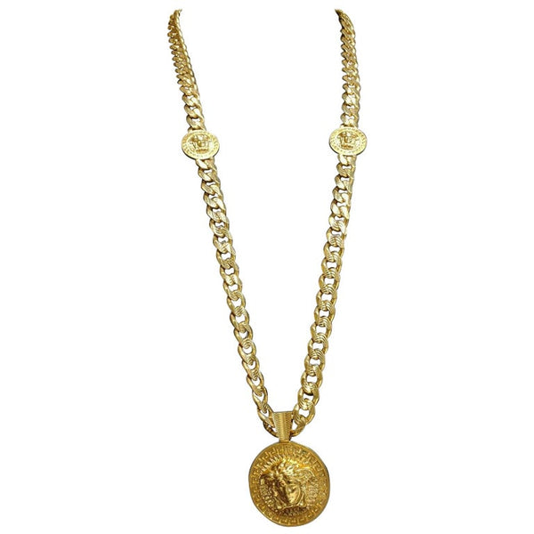 VERSACE 24k GOLD PLATED MEDUSA NECKLACE as seen on BRENNEN