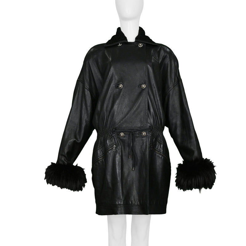 VERSACE BLACK LEATHER DRAWSTRING WAIST COAT