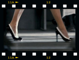 "VERSACE BLACK PATENT LEATHER PLATFORM SHOES as seen in ""New in Town"""