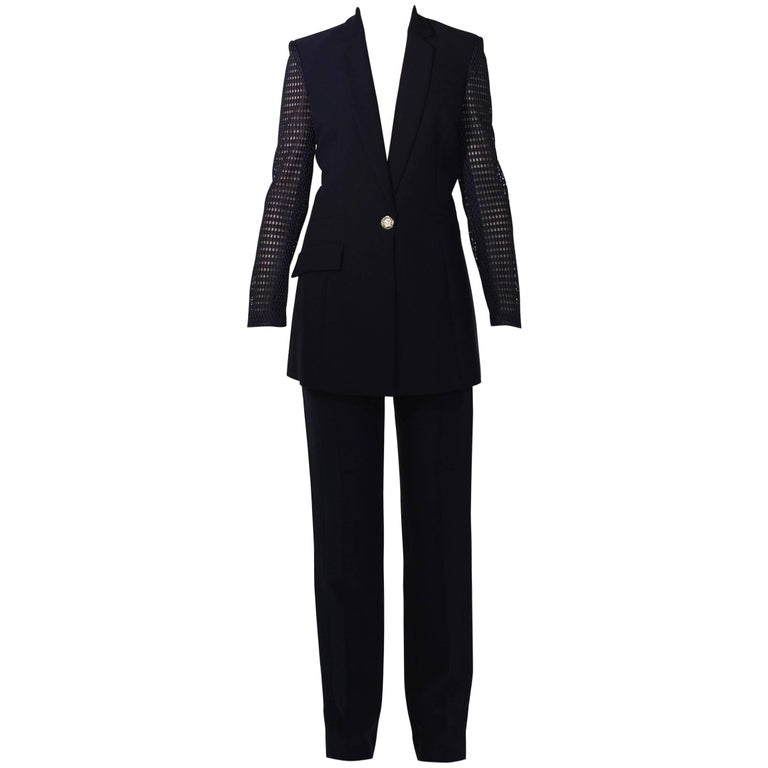 VERSACE BLACK SILK PANT SUIT with PERFORATED SLEEVES