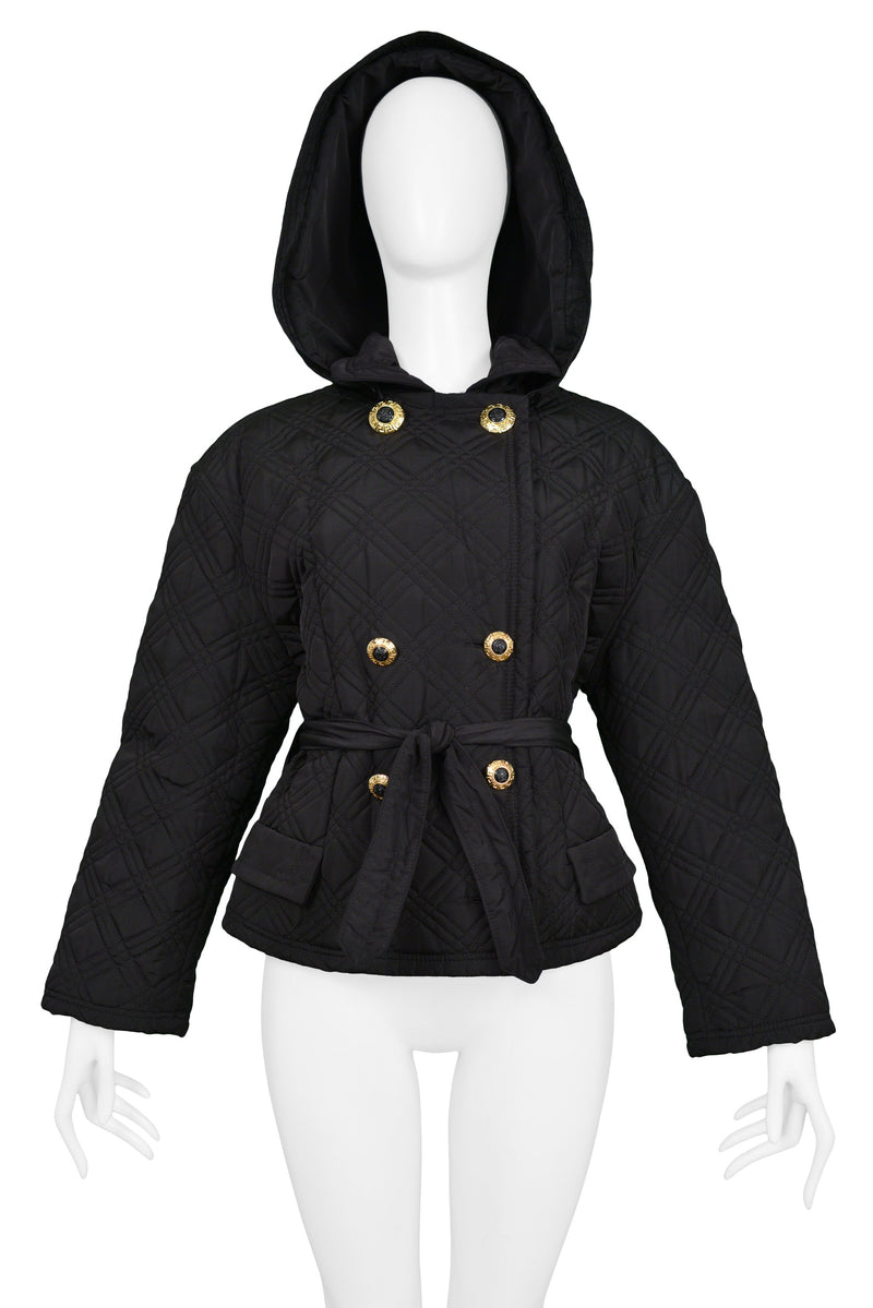 VERSACE BLACK NYLON QUILTED JACKET WITH HOOD