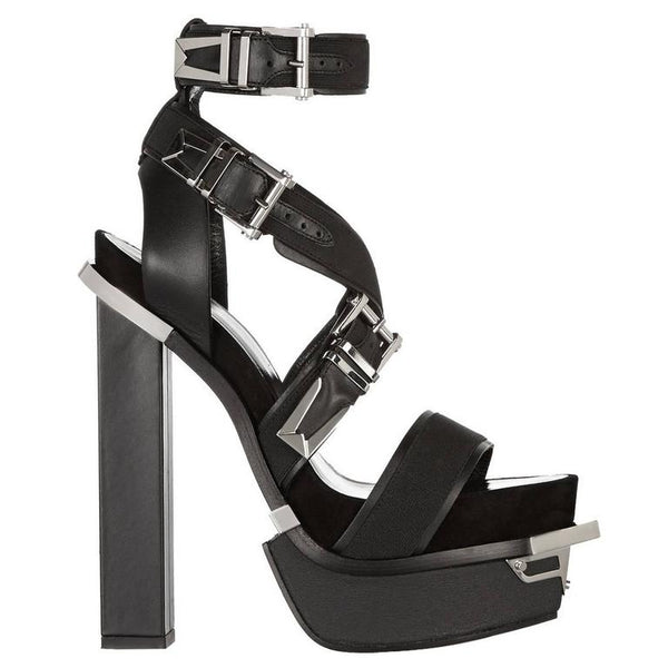 VERSACE Black Leather Canvas Platform Sandals