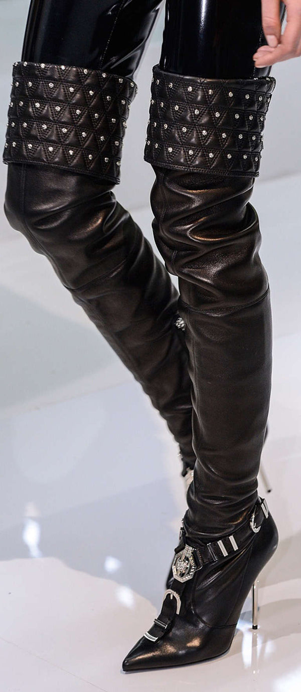 "VERSACE ""Chelsea"" Studded Black Leather Thigh High Boots"