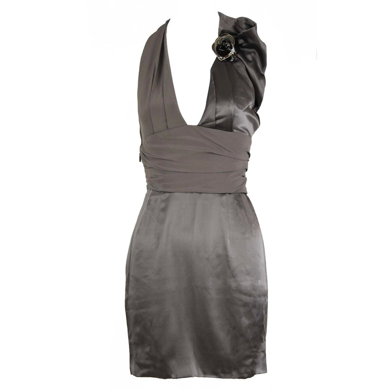 Versace Gray Charmeuse Halter Dress