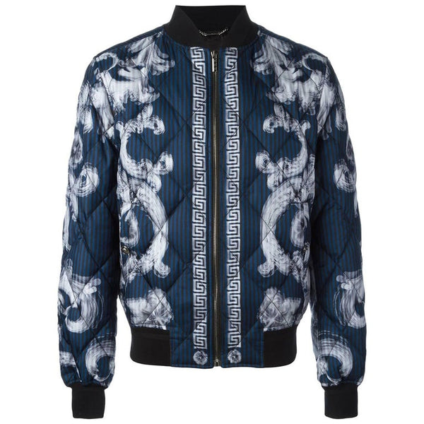 VERSACE 'Lenticular Foulard' QUILTED SILK DOWN BOMBER JACKET for MEN
