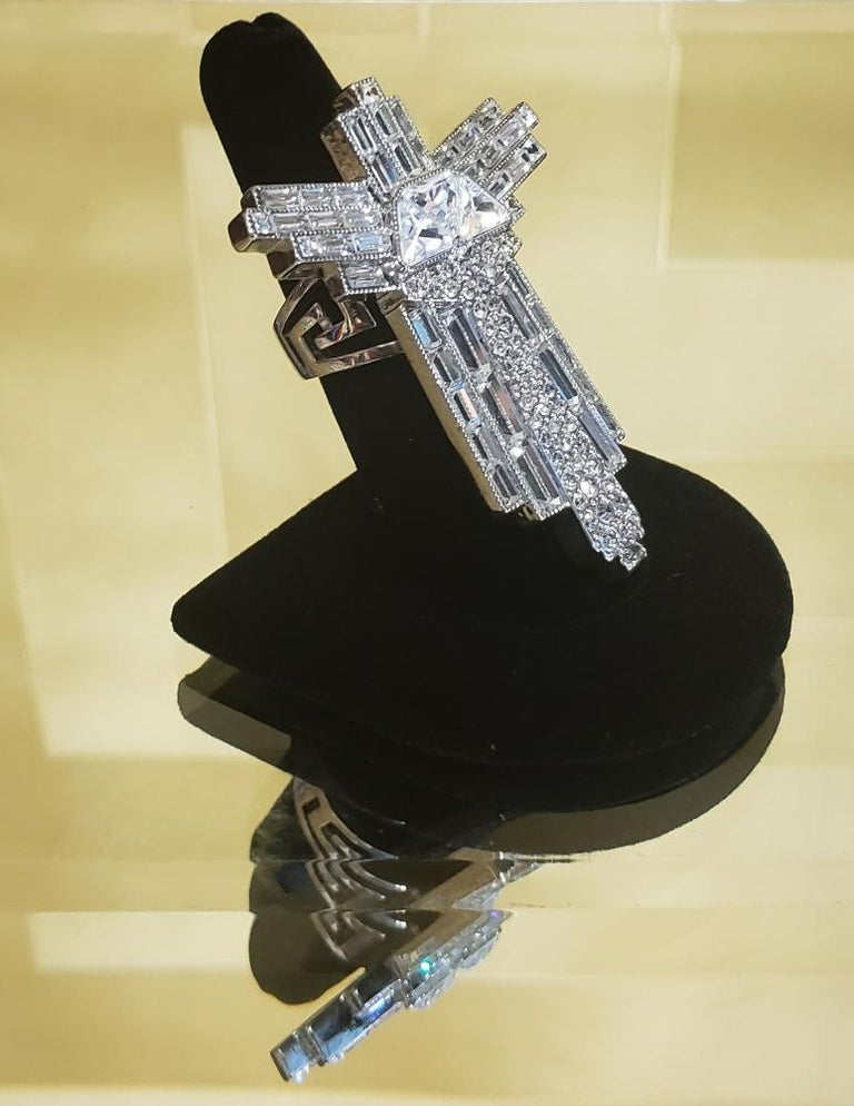 VERSACE Oversized Graphic Cross Ring with Crystals