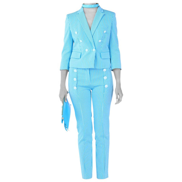 VERSACE STRETCH COTTON PINSTRIPE PANT SUIT