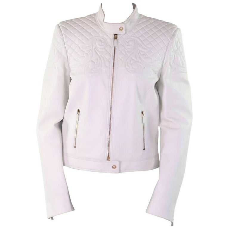 VERSACE VANITAS BAROCCO EMBROIDERED WHITE LEATHER BIKER JACKET
