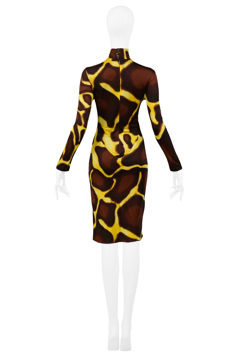 VERSACE YELLOW GIRAFFE PRINT DRESS WITH FUR COLLAR