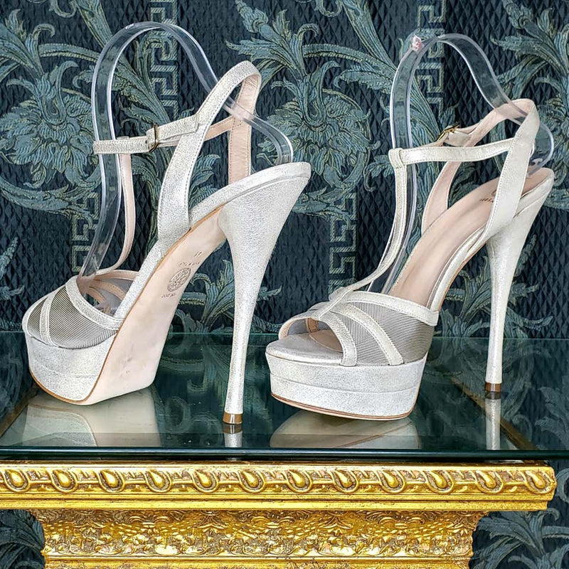VERSACE silver leather double platform sandals as seen on Kate