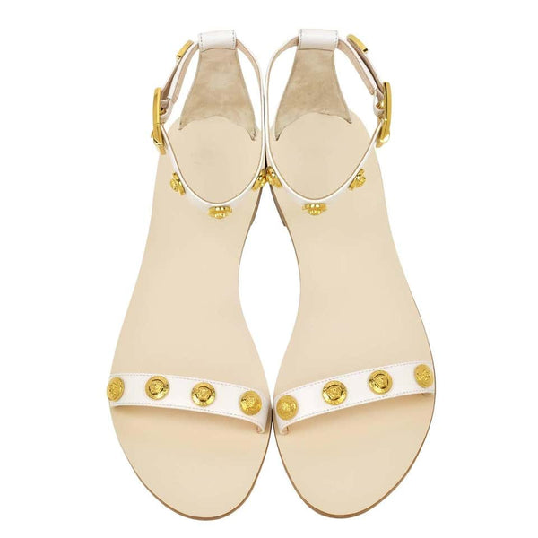 VERSACE white leather flat sandals