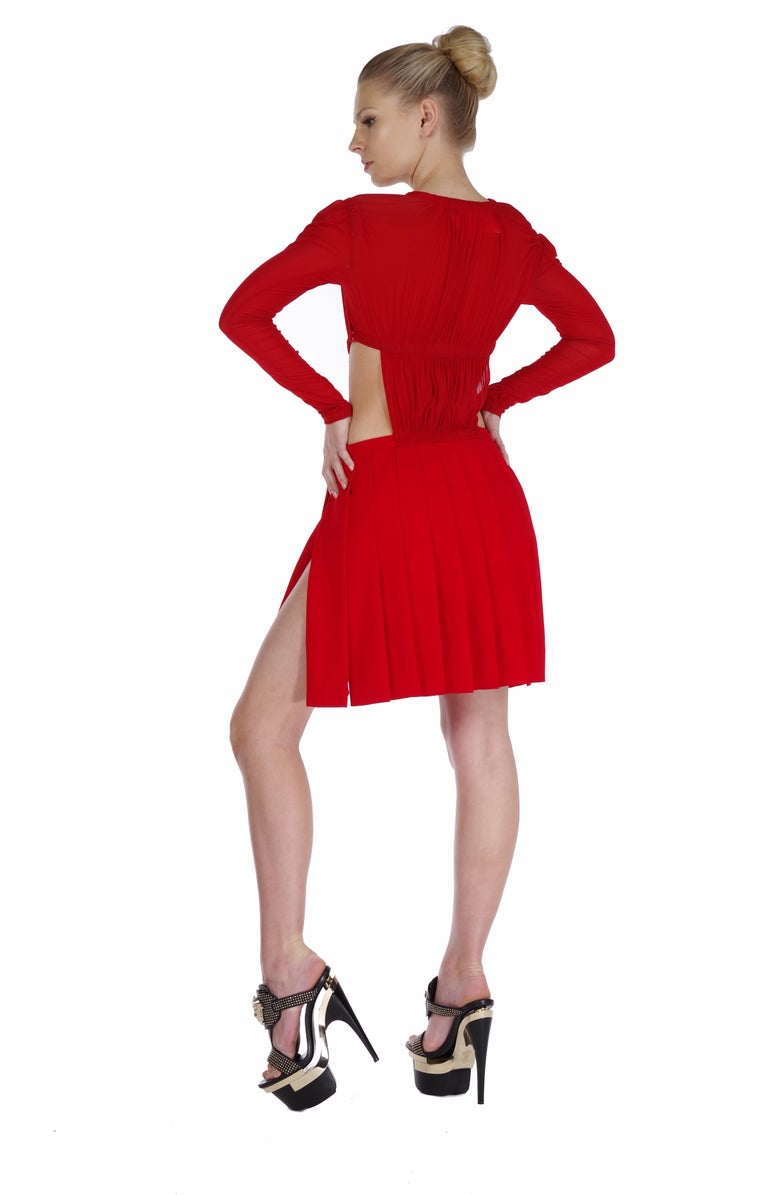 VERSUS VERSACE + Christopher Kane red cut-out dress