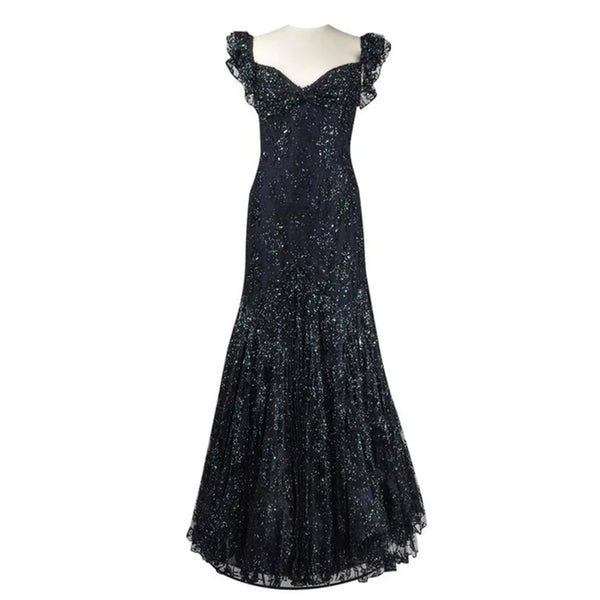 Vicky Tiel Couture Gown Navy Lace Embellished Overlay Full Length