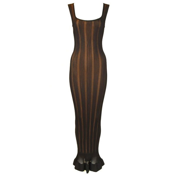 Vintage Alaia Black Knit Jacquard Gown with Nude Slip