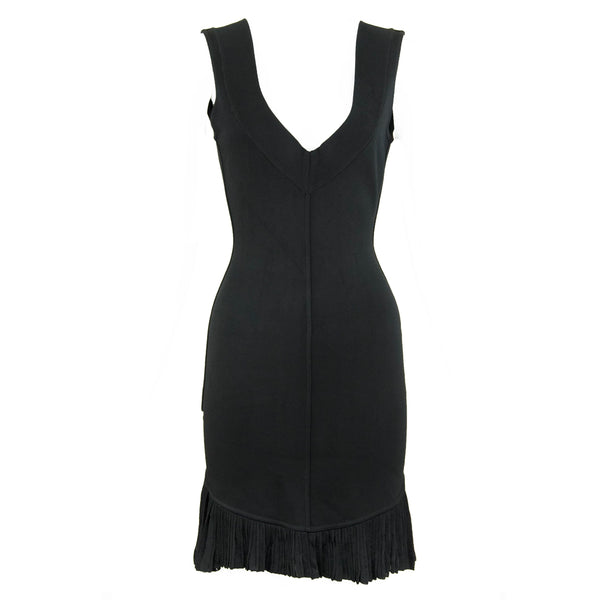 Vintage Alaia Black Knit Pleated Dress