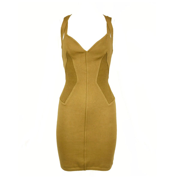 Vintage Alaia Khaki Knit Strappy Dress