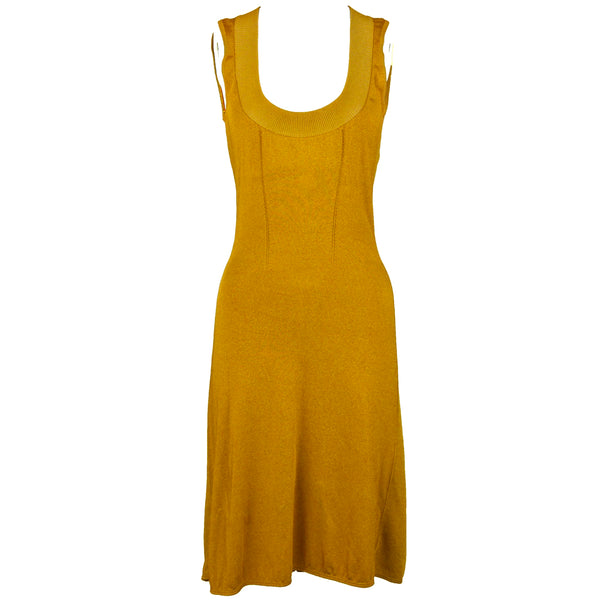 Vintage Alaia Mustard Scoop Neck Dress