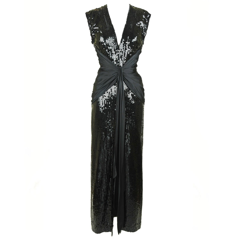 Vintage Azzaro Black Sequin Gown with Silk Sash