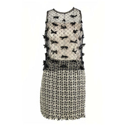 Vintage Chanel Tweed and Tulle Dress with Bows